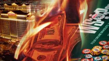 Gambar Campuran Caesars Palace Casino Burning Money dan WSOP Table