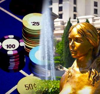 Caesar's Palace Outside Statue dan Closeup of Roulette Table Mixed Image