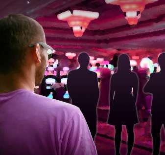 Man Standing Before Silhouette Figur in a Casino
