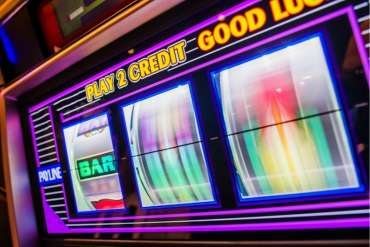 Reels spinning on a slot machine