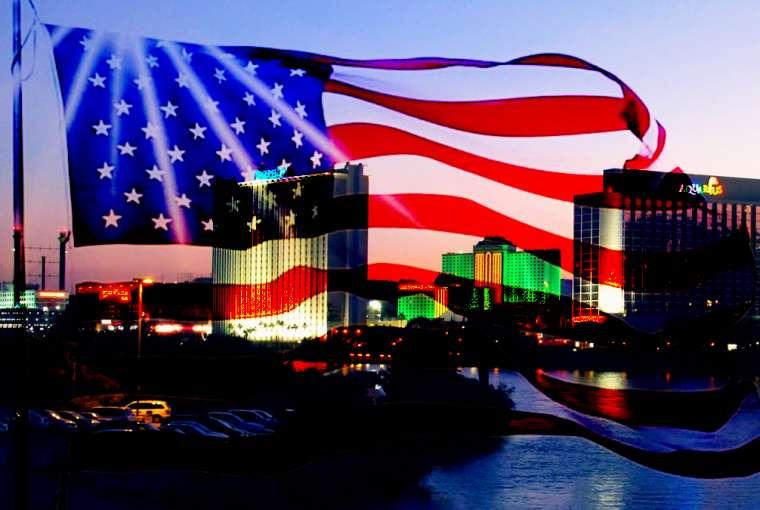 Bendera Amerika Melapisi Gambar Laughlin, NV
