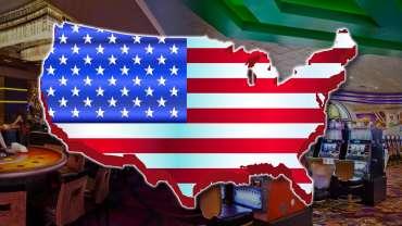 Peta Amerika Serikat Berisi Bendera AS dan Latar Belakang Kasino