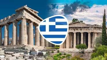 Simbol Bendera Yunani Dengan Latar Belakang Atraksi Yunani