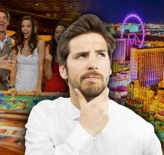 Pria Berpikir Dengan Latar Belakang Roulette dan Las Vegas