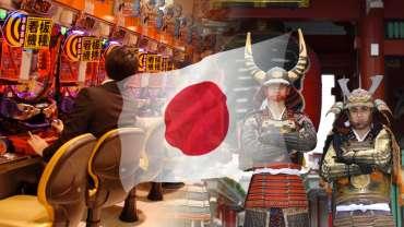 Bendera Jepang Dengan Latar Belakang Pachinko dan Samurai