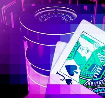Meja Roulette Elektronik dan Tangan Blackjack Dengan Overlay Pixelated