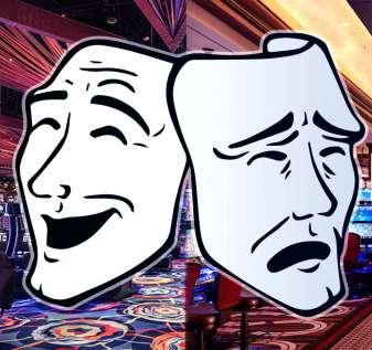 Wajah Teater Bahagia dan Sedih Dengan Latar Belakang Kasino
