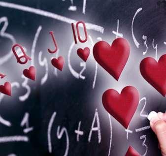 Royal Flush of Hearts Dengan Latar Belakang Persamaan Matematika