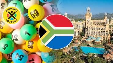 Segel Afrika Selatan Dengan Bola Bingo dan Latar Belakang Sun City Casino